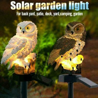 Solar Garden Lights Owl Ornament Animal Bird Outdoor LED Decor Sculpture No E4T5