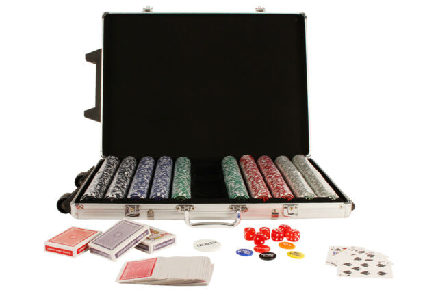 500 Poker Chip Card Game Play Set w/ Aluminium Carry Case Plastic Gamble Game