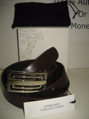 """$295 NEW Versace Collection Mens Brown Leather 46/"""" Belt Remove Buckle Resizable"""