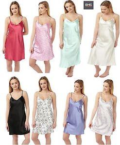 Womens-Ladies-Satin-Silk-Feel-BHS-Chemise-Nightie-2Pack-100-Satin-Fabric-UK8-22