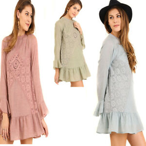 UMGEE-Womens-Lace-Crochet-Boho-Bohemian-Pheasent-Long-Ruffle-Sleeve-Dress-S-M-L