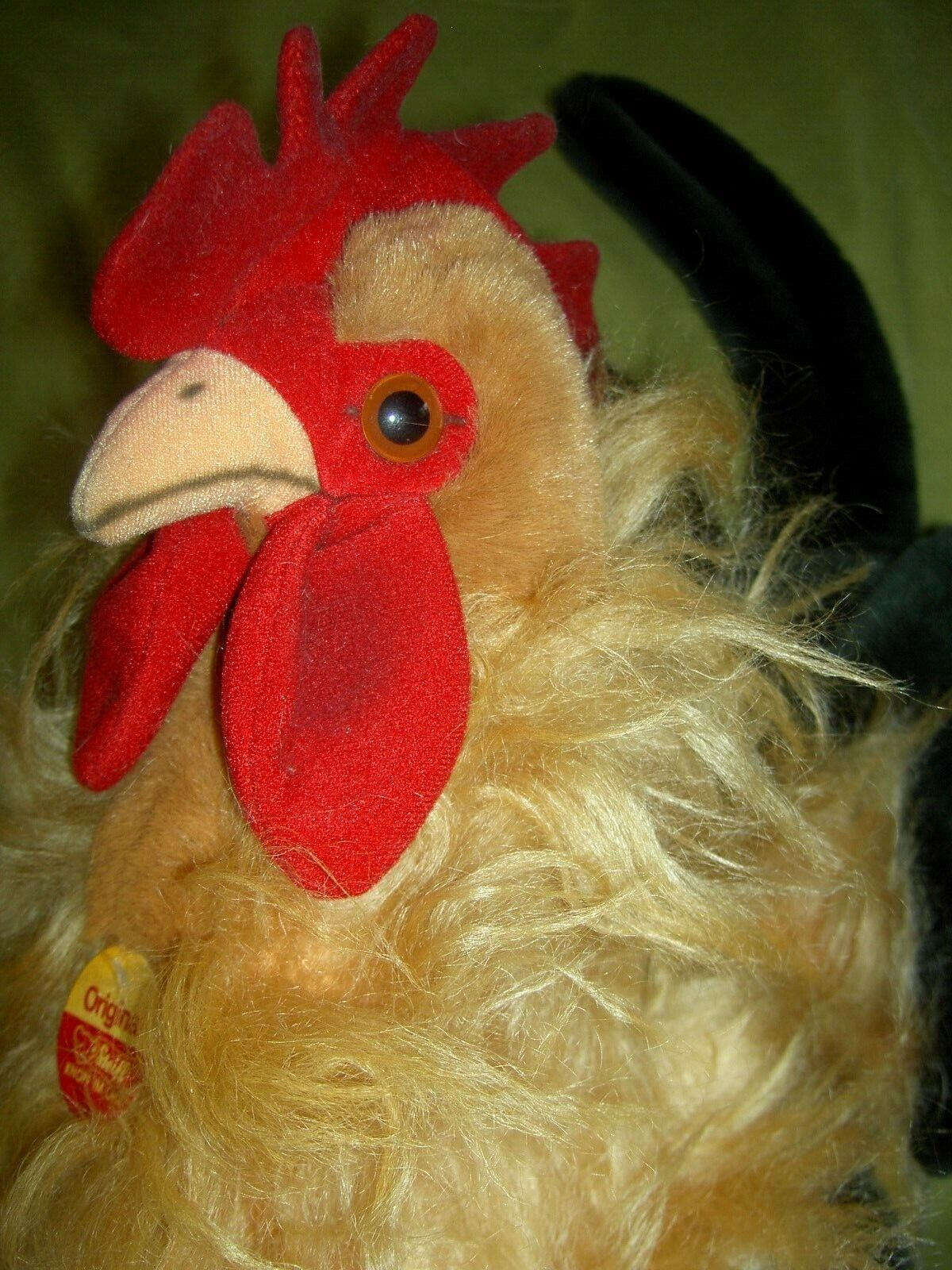 Life size 18  tall, Steiff multi-color Hahn 40 ROOSTER button& tags XLNT