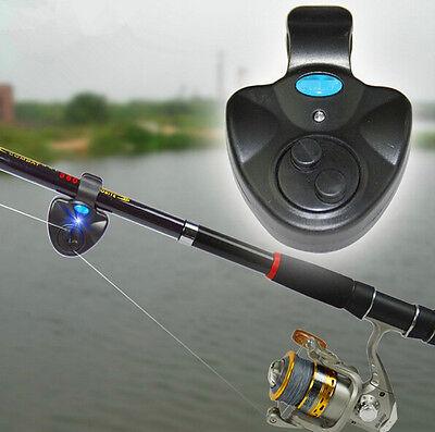 CE AU Black Electronic LED Light Fish Bite Sound Alarm Bell Clip On Fishing Rod