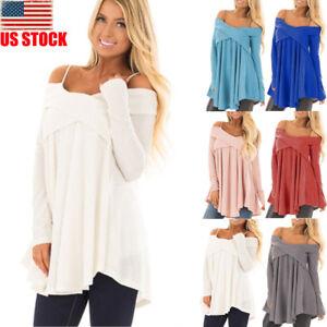 418611ecd7686 Image is loading US-Oversize-Women-Off-Shoulder-Batwing-Sleeve-Knit-