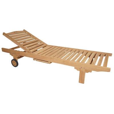 KMH® Teak Sonnenliege Gartenliege Holzliege Rollliege Liegestuhl Liege Holz
