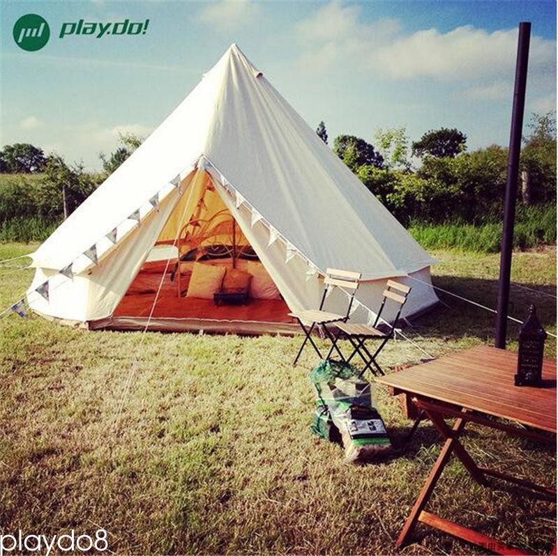 4M Waterproof Cotton Canvas Camping Bell Tent Glamping Camping Safari Yurt Tents