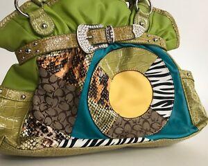 HOT-satchel-lime-multi-material-handbag-rhinestones-crocodile-pattern-FUNKY