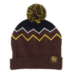 bb7d783a2 Details about UPS YOUTH ZIGZAG BEANIE KIDS BOYS TOP POM BROWN GOLD HAT  UNITED PARCEL SERVICE