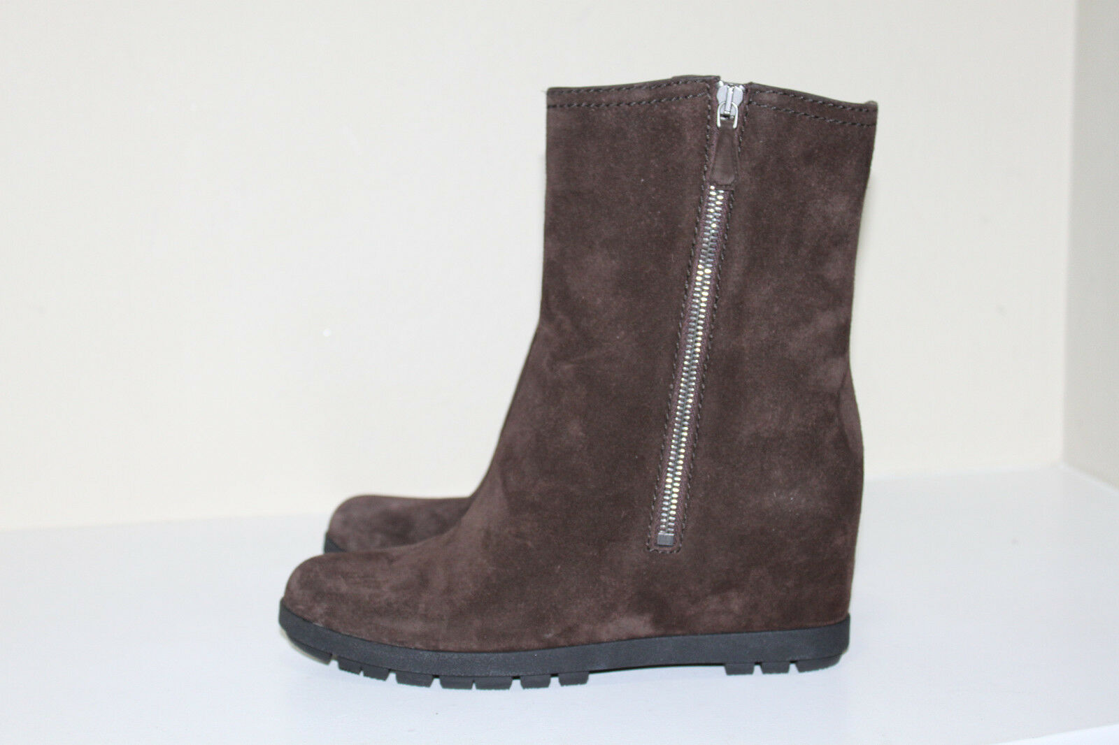 New sz 9 / 39 Prada Braun Suede Boot Wedge  Hell Ankle Boot Suede Damens schuhes c25f21