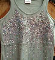 NEXT. GIRLS  VEST TOP. OLIVE GREEN. SEQUINS . NEW. AGES 5 - 15 YEARS. COTTON.