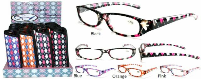 Fashion Plastic Argyle  Reading Glasses  with soft Case + FREE GIFT!