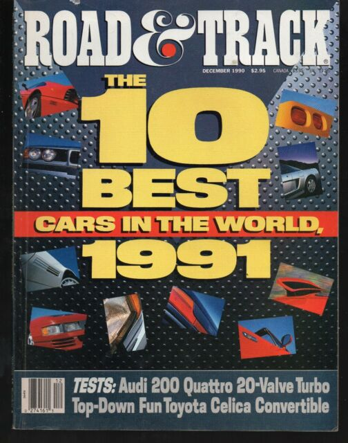 Road & Track December 1990 1991 10 Best Cars Acura BMW Corvette Ferrari Benz