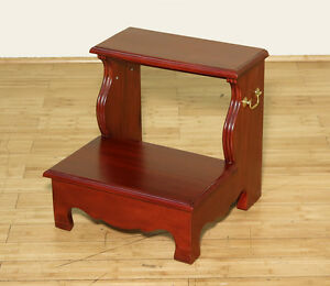 Cherry 2 Step Office Library Bedside Step Stool American