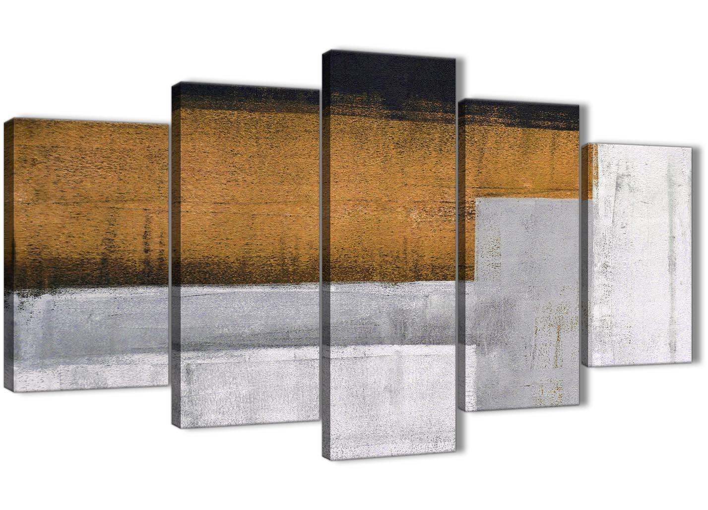 5 Panel Orange Gris Gris Orange Peinture Abstrait Chambre à Coucher Toile  Decor   5426