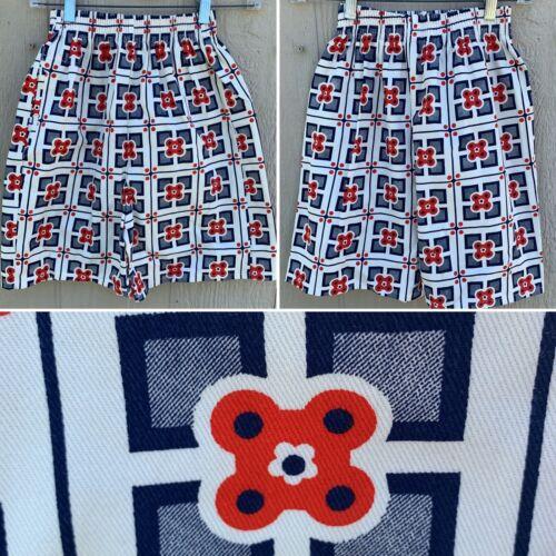 Vintage High Waist Shorts Red White Blue Geometric