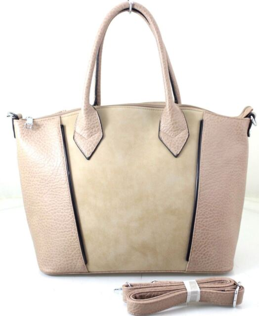 568aa3229bd1 New Designer Large Ladies Women s Leather Style Tote Shoulder Bag Handbag  Beige