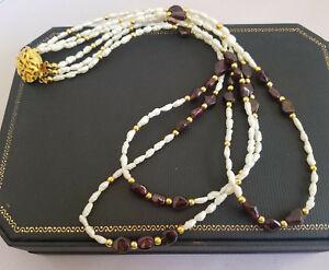 Vintage gold tone necklace and bracelet Gold tone rice pearl necklace Gold tone rice pearl bracelet