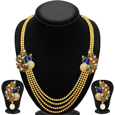 Sukkhi Gleaming Peacock Four Strings Gold Plated Necklace Set(2191NGLDPP1560)