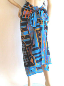 NEW VINTAGE MULTI COLOR NAUTICAL PRINT 62X46 SCARF COVER -UP /WRAP