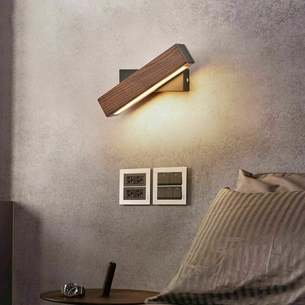 Wall Sconce Lamps Solid Wood Led Bulb Light Home Living Room Decor Wall-mounted