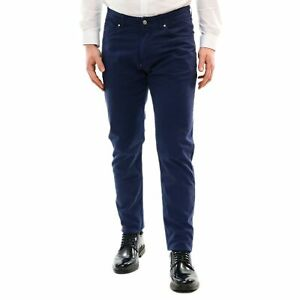 Pantalone-Uomo-Cotone-Estivo-Blu-Chino-Slim-Casual-Elegante-Cargo-Casual