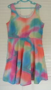 MODCLOTH-FERVOUR-MULTICOLOURED-SLEEVELESS-DRESS-SIZE-XL-FULLY-LINED