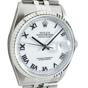 Rolex-Mens-Stainless-WG-Bold-Roman-DateJust-Model-16234-SANT-BLANC