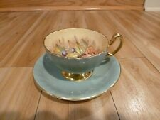 Vintage Aynsley Bone China D Jones Fruit Cup & Saucer Set w Light Green Gold