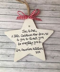 Thank You Christmas Gift Decor Star Personalised Child Minder ...
