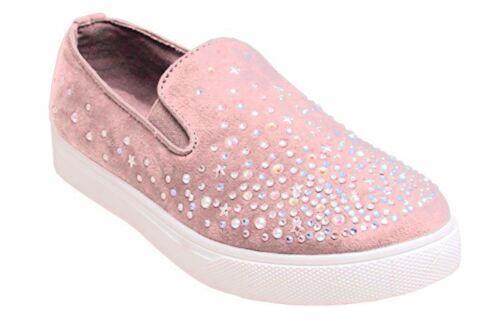 Nouveau haut strass faux daim casual front slip on sneaker escarpins chaussures