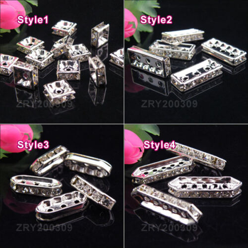 Silver Plated Crystal Spacer Beads//Spacer Bar R0163