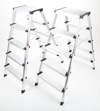 2 x point-home Escabeau Pliable Avec Marches Aluminium 5 étapes