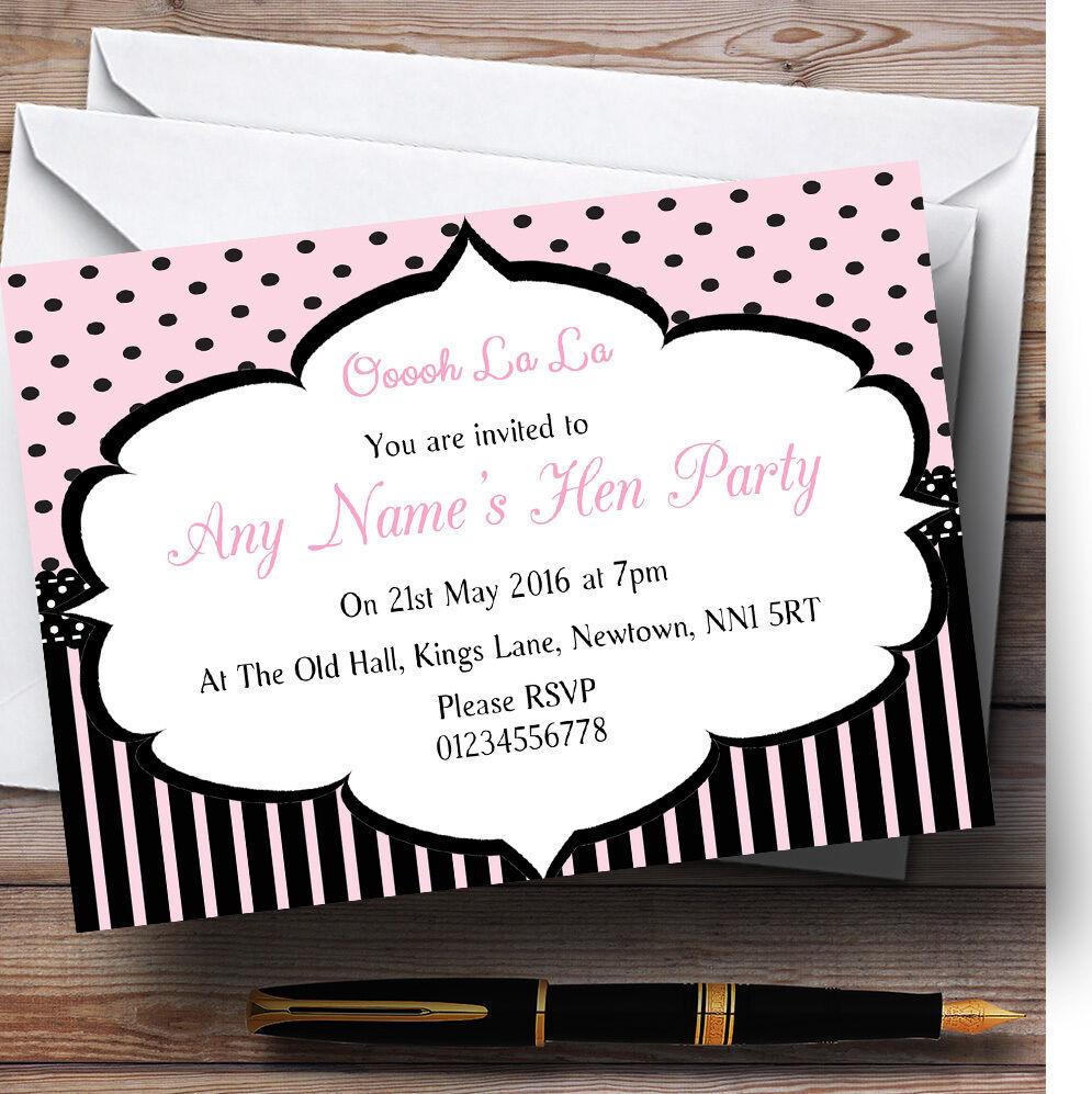 Rose rayures noir rayures Rose Polkadots Paris chic poule party invitations personnalisées 9dcfd5