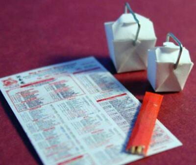 Melody Jane Casas de Muñecas japonés sacar lejos de cartón menú /& Chopsticks 1:12
