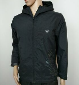 Details zu Fred Perry Jacket Black Full Zip Hooded Track Big Logo Mod Size L Youth RRP£200