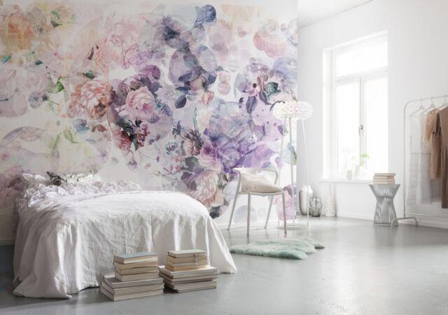 NON WOVEN giant wallpaper 368x248cm White rose flowers design wall mural decor