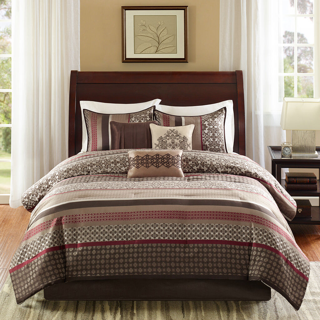 BEAUTIFUL 7PC MODERN rot TAUPE BEIGE braun PLAID COZY CABIN STRIPE COMFORTER SET