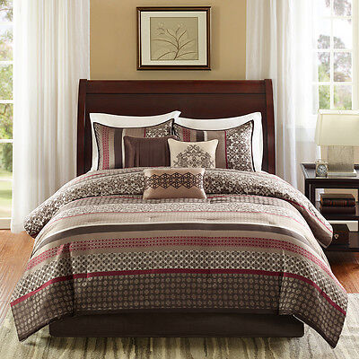 BEAUTIFUL 7PC ULTRA SOFT COZY CABIN BROWN BEIGE IVORY RED LEAF COMFORTER SET NEW