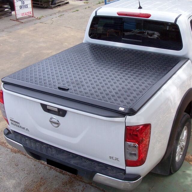 STX L200 Long Bed Double Cab Tri-Folding Fold Up Tonneau Cover//Canopy Black