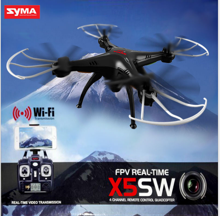 Drone SYMA X5SW FPV HEADLESS CAMERA HD real time WiFi BATTERIE fotografica aerea