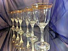 Crystal Glass Set of 6 Wine Champagne Russian Glasses 8 oz  Gold Greek Design