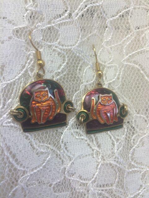 Edgar Berebi Beautiful Vintage Enamel Orange Cat Earrings Gold Tone Pierced