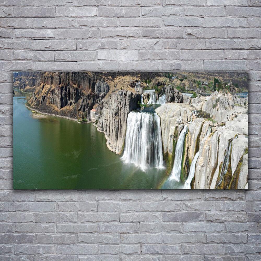 Photo sur toile Tableau Image Impression 120x60 Montagnes Chute D'eau Lac
