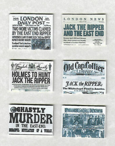 SIX HAND-MADE DOLLS/' HOUSE 1//12TH SCALE WW2 NEWSPAPERS