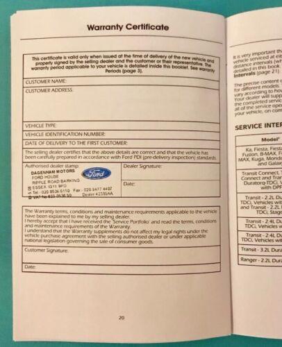 STAMPED FORD SERVICE BOOK KA FIESTA FOCUS MONDEO B-MAX C-MAX S-MAX ...