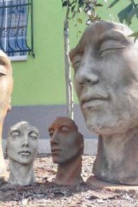 SKULPTUR-Gartenfigur-Gesicht-klein-Steinguss-Frau-Mann-VIDROFLOR-Engel-Fee-Elfe