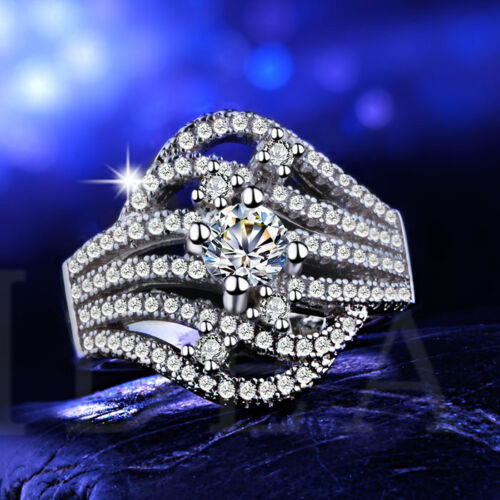 Elegant Women Round Cut White Sapphire 925 Silver Wedding Ring Size 6-10