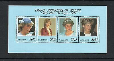 Mint/mnh One Postage For Multi Buys... Barbados 1999 Diana Commem Sheet Stamps