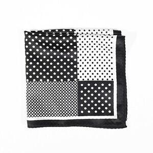NEW Men's 100% Silk Pocket Square Black White Polka Dot Handkerchief 14in
