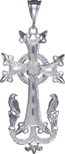 Large Argent Sterling arménien Croix avec Aigle Collier Pendentif Avec Chaîne